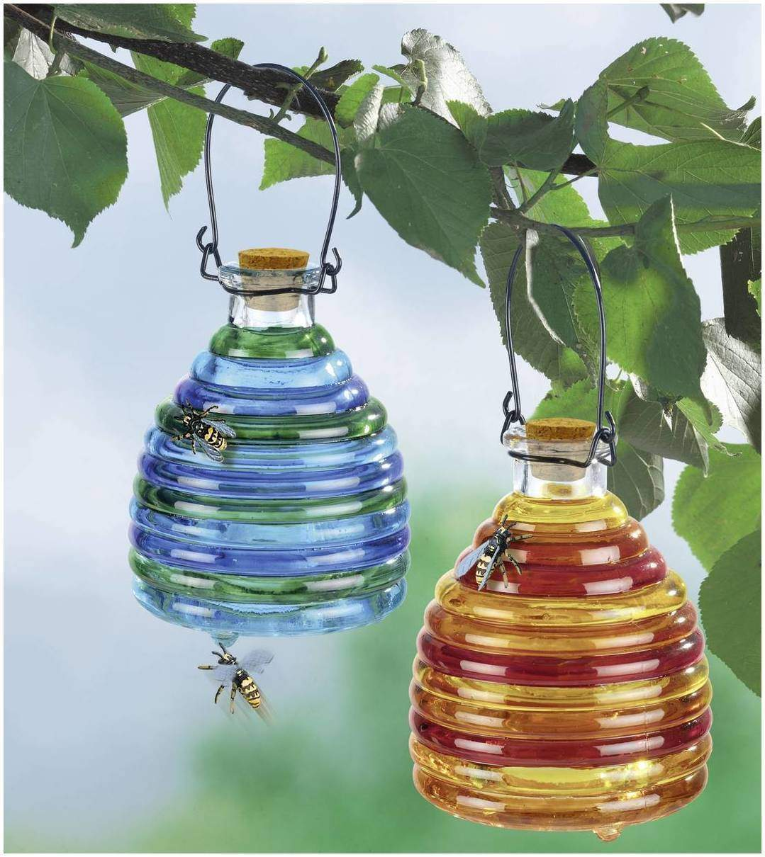 Wespenfalle aus Glas farbig 2er Set