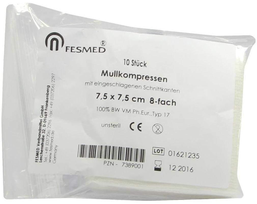Mullkompressen ES 7,5 x 7,5 cm 8 - Fach Unsteri...