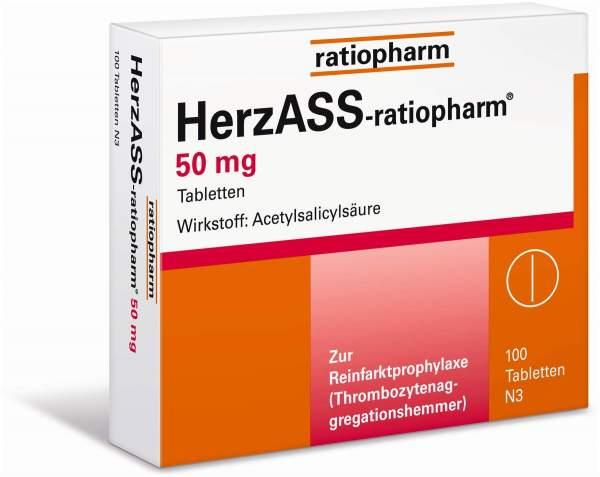 ratiopharm GmbH HerzASS ratiopharm 50 mg Tabletten 100 Tabletten - 100 Tabletten