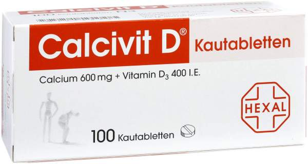 Calcivit D Kautabletten 600 mg-400 I.E 100 Kautabletten