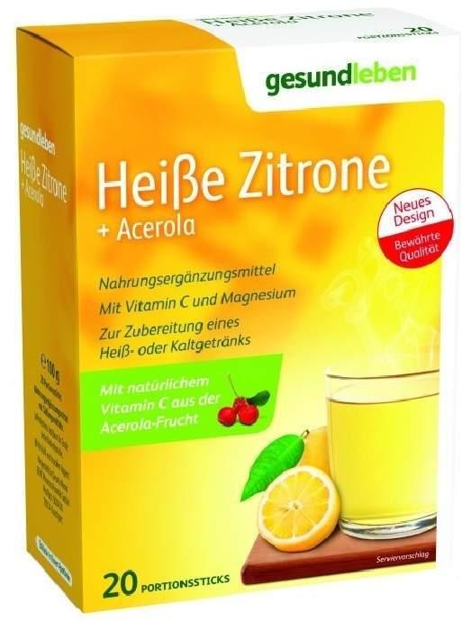 Gesund Leben Heiße Zitrone + Acerola Pulver 20 Sticks