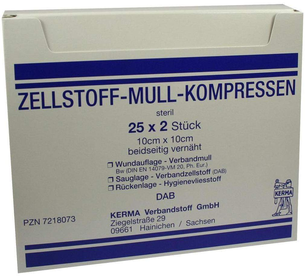 Zellstoff Mullkompressen 10cmx10cm steril 25X2 ...